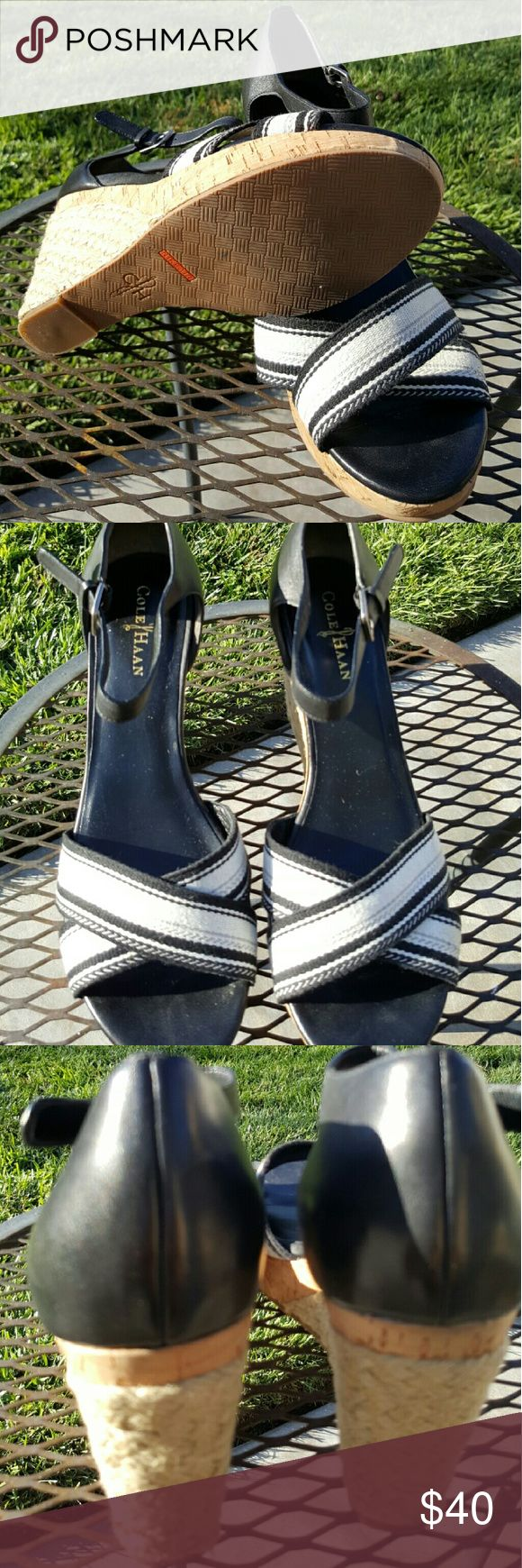 🌞END OF SUMMER SALE🌞Cole Haan Wedge Sandals Med height wedges. Excellent condition. Bought on Poshmark but doesn't fit my previously broken ankle Cole Haan Shoes Sandals