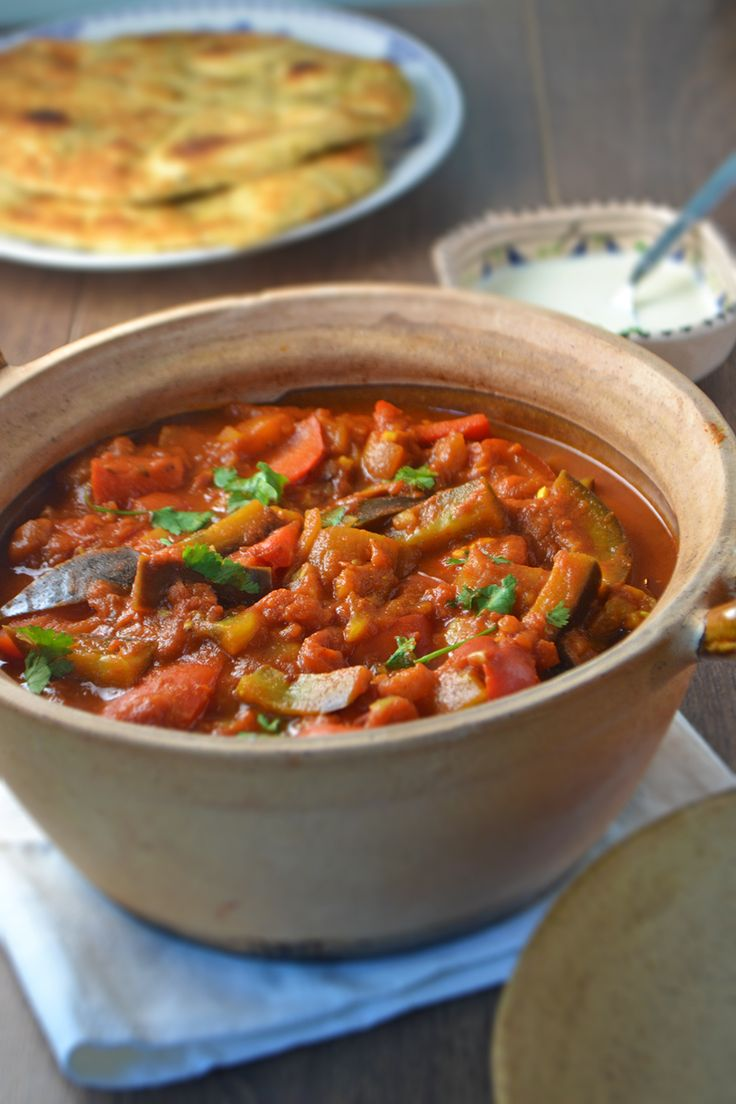 A fresh, flavourful vegetarian curry with aubergine, red peppers and fresh coriander.