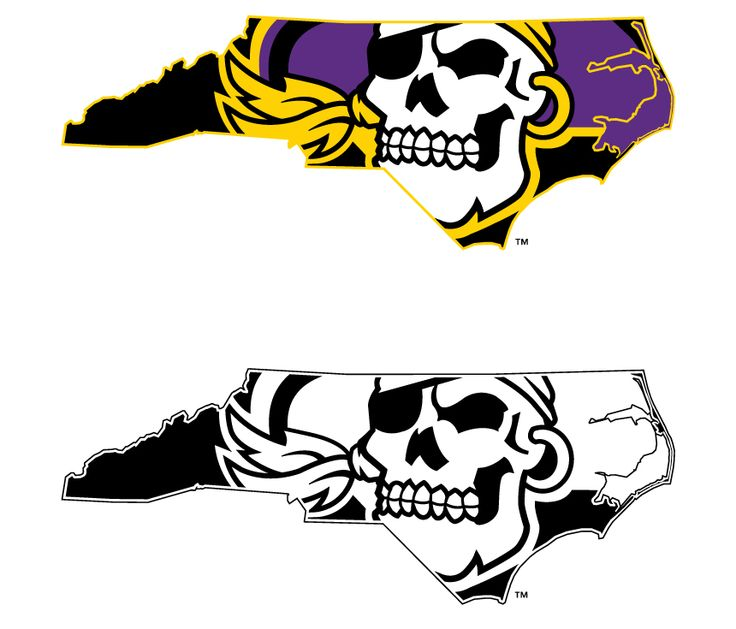Original Pirate State of Mind logo. Since its creation in 2009, the image has been used as the midfield design for ECU Football and midcourt design for ECU Basketball. Read more about the mark at http://www.bonesville.net/Mobile/content/2011-12/01/012312_Cherubini_PSOM.htm