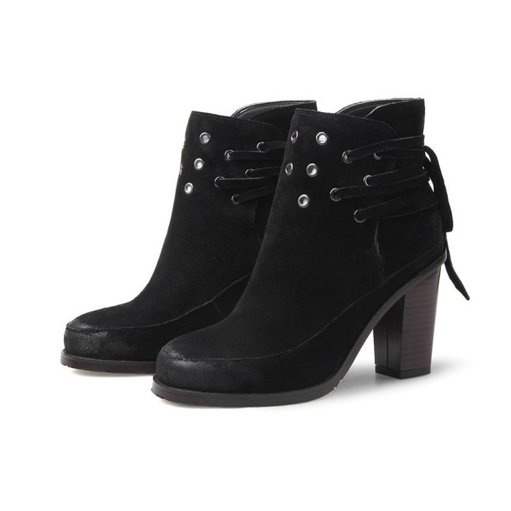 Boots - Black Motorcycle with ankle laces Ankle Boots