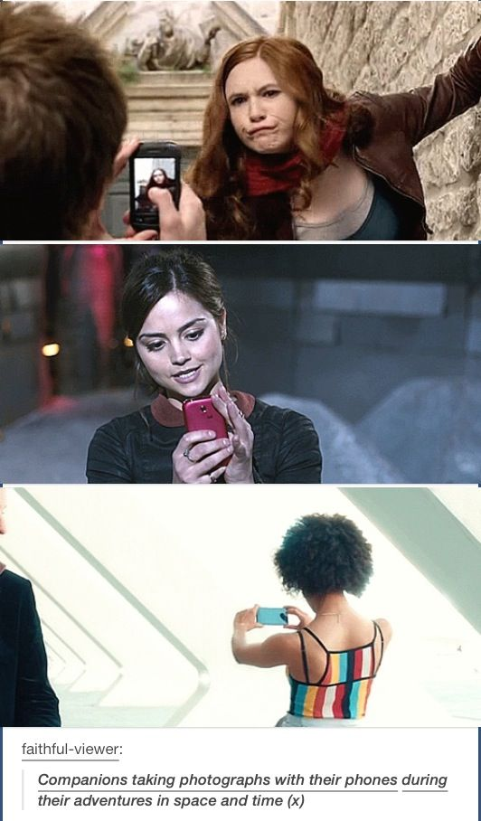 Companions phones upgrading through the years. Doctor Who Series 10 Smile Bill Potts Pearl Mackie Peter Capaldi Clara Oswald Jenna Coleman Amy Pond Karen Gillan Rory Williams Arthur Darvill Matt Smith