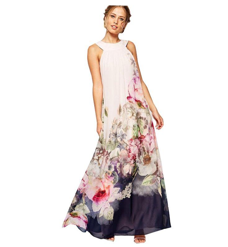 EJY Frauen Blume Gedruckten ärmellos Maxi Langes Kleider mit Weiss (S)