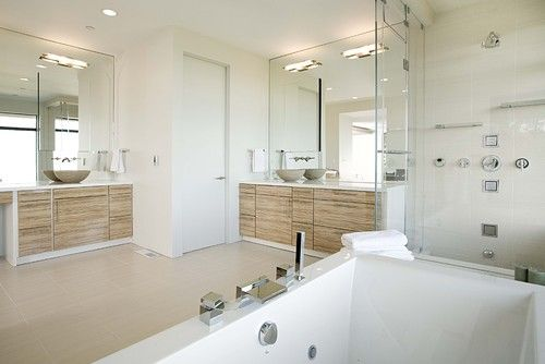 Contemporary master bathroom with large walk in glass shower and deep soaker tub! #bath #ensuite #luxury #modern #minimalist #home #design
