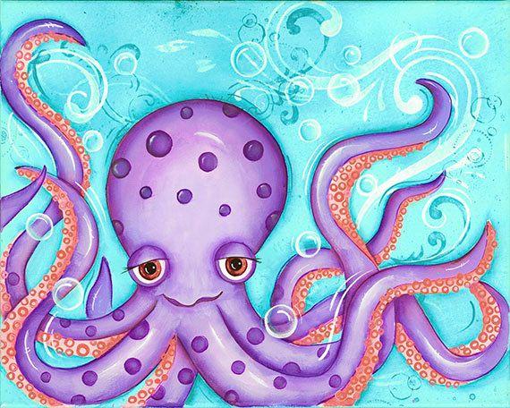 Octopus, Childrens Wall Art, 8x10 Print, Nautical, Beach, Nursery Wall Art, Bathroom Decor