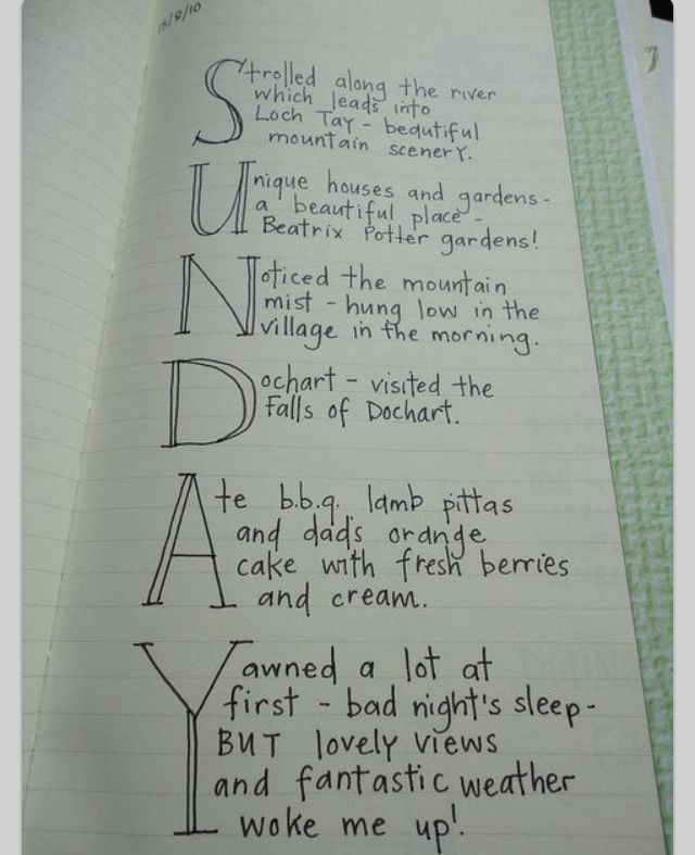 Great idea, pick a word and let the letters define your journal for the day.