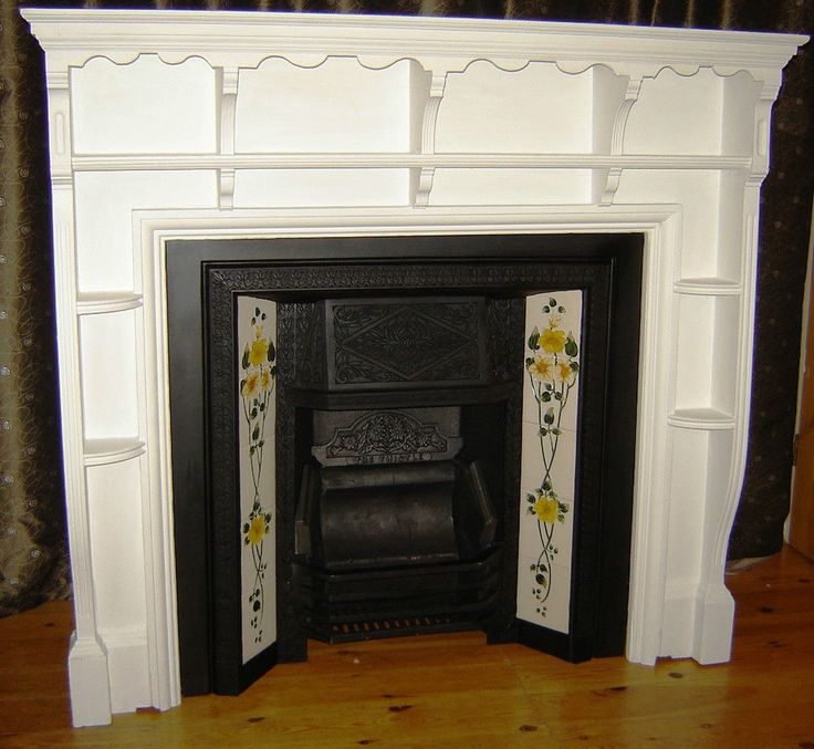 Victorian Edwardian Wooden Fireplace Fire Place Surround and Cast Iron Tiled Insert | Oxford, Oxfordshire | Gumtree