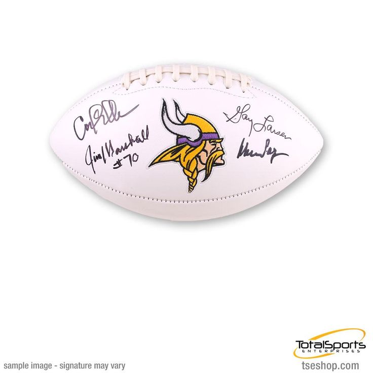 Purple People Eaters Autographed Vikings White Logo Football - Signed by Page, Eller, Marshall, and Larsen