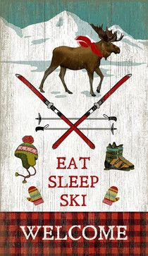 Eat Sleep Ski Sign - Prints And Posters - by Red Horse Signs