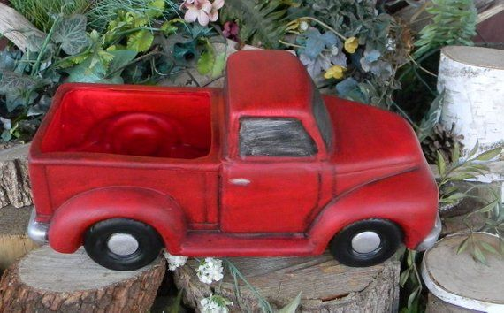 Vintage Red Truck Container Ceramic Fall Christmas Lighted Candy Easter Basket Little Red Truck Ford Chevy Dodge Planter Succulents Red Truck Vintage Red Truck Red Truck Decor