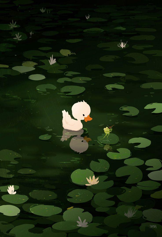 patito blanco en estanque nenúfares - Art