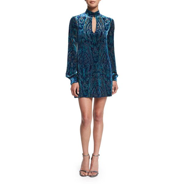 Nanette Lepore Long-Sleeve Velvet Paisley Dress ($448) ❤ liked on Polyvore featuring dresses, cobalt multi, blue long sleeve dress, a line dress, keyhole dress, paisley dress and long a line dress