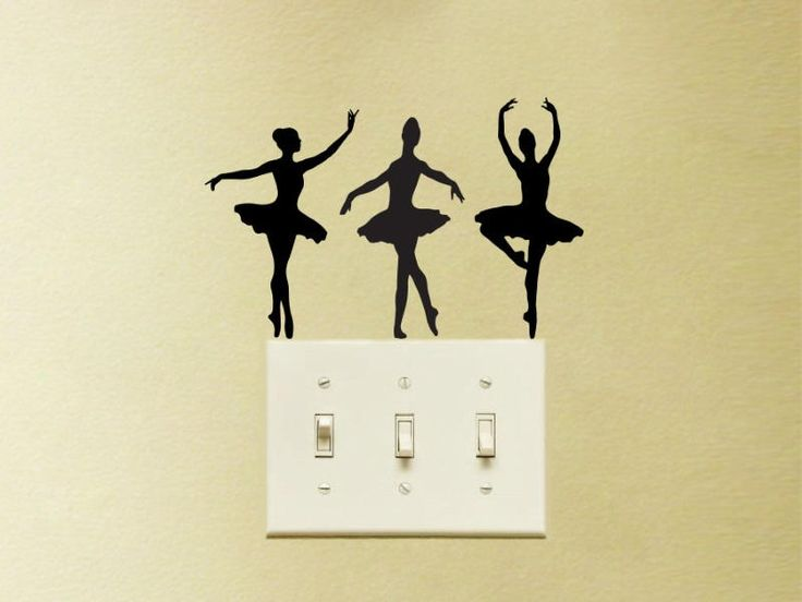 Three Ballerinas Vinyl Decal Sticker Light Switch Kids Ballet Nursery by FineDecalShop on Etsy