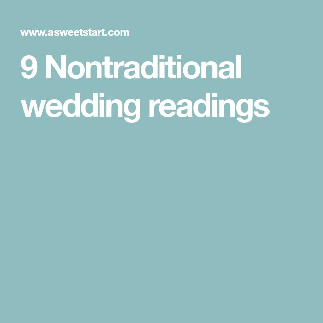 9 Nontraditional wedding readings