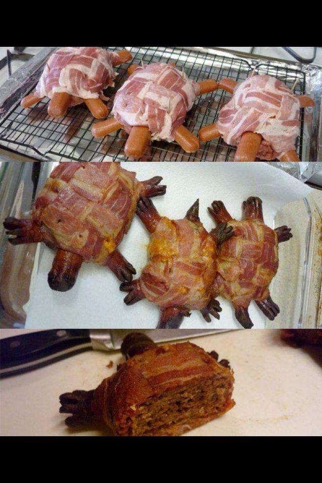 Barbecue Turtles    gegrillte Schildkröte Bacon & Meatball & Sausage grilled  gegrillte Schildkröte aus Würstchen, Klopsen und Speck.
