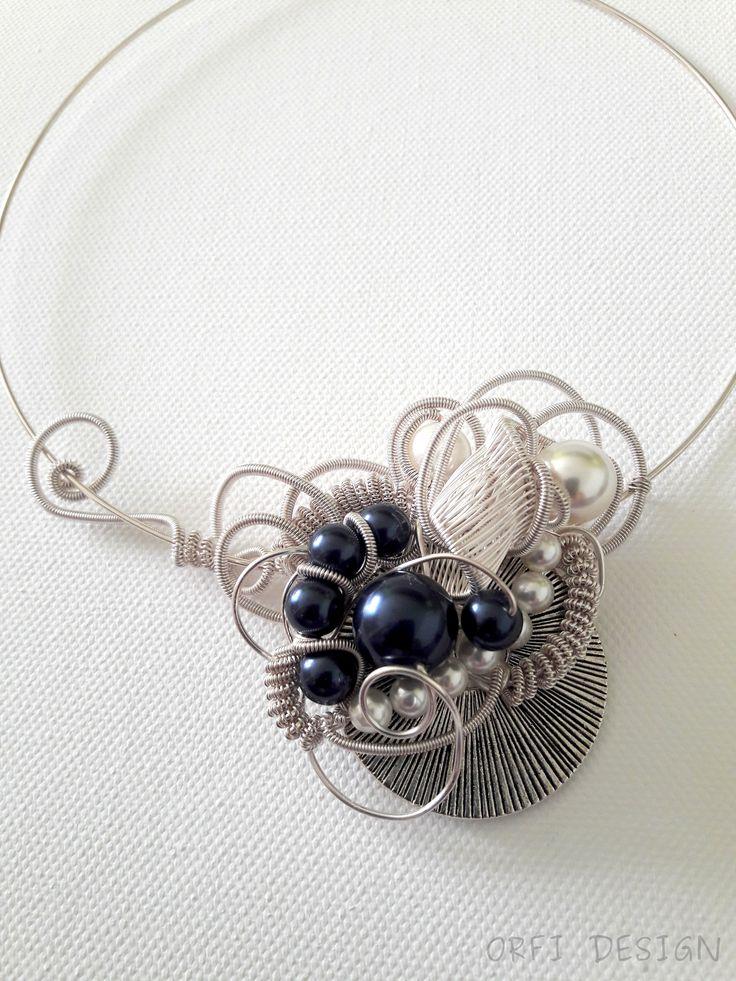Wire wrapped necklace with swarovski pearls...handmade jewelry
