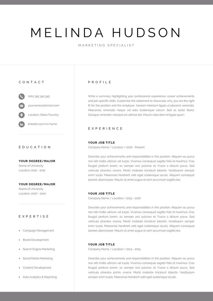 Modern Resume Template for Word  Mac Pages Professional 1 / 2