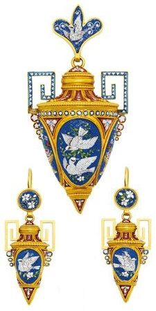 An Archaeological Revival Micromosaic and Gold Demi-Parure, circa 1870.  Each designed as an amphora, the pendant and ear pendants decorated with polychrome tesserae depicting doves and flowers against a blue ground, the pendant with glazed compartment to the reverse, mounted in 21k gold. #ArchaeologicalRevival #antique #micromosaic