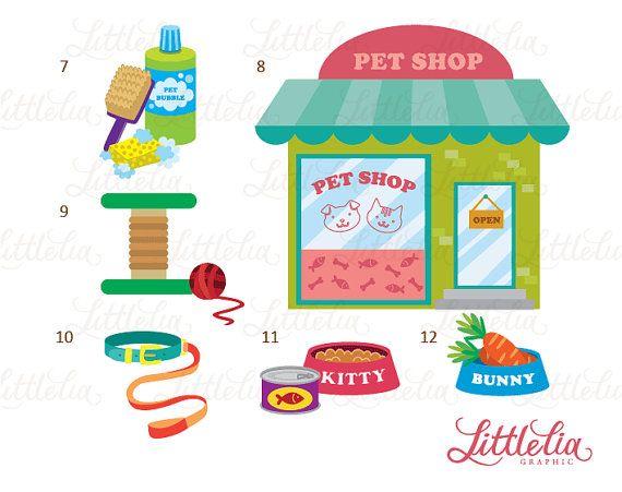 Girl S Pet Shop Clipart Set Instant Download 14008 Etsy Shopping Clipart Clip Art Pet Shop