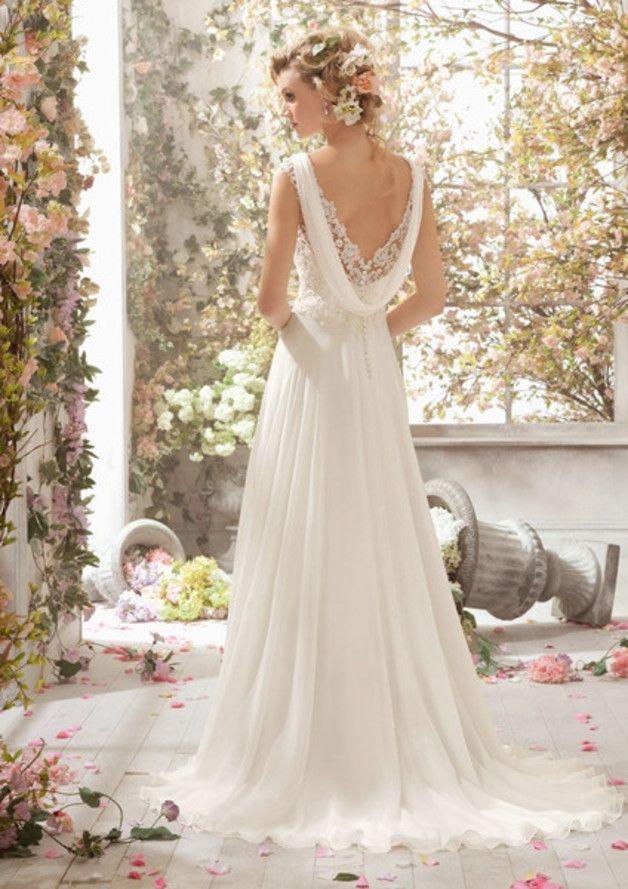 Hochzeitskleider – V-Ausschnitt Brautkleider Ivory – ein Designerstück von okay…