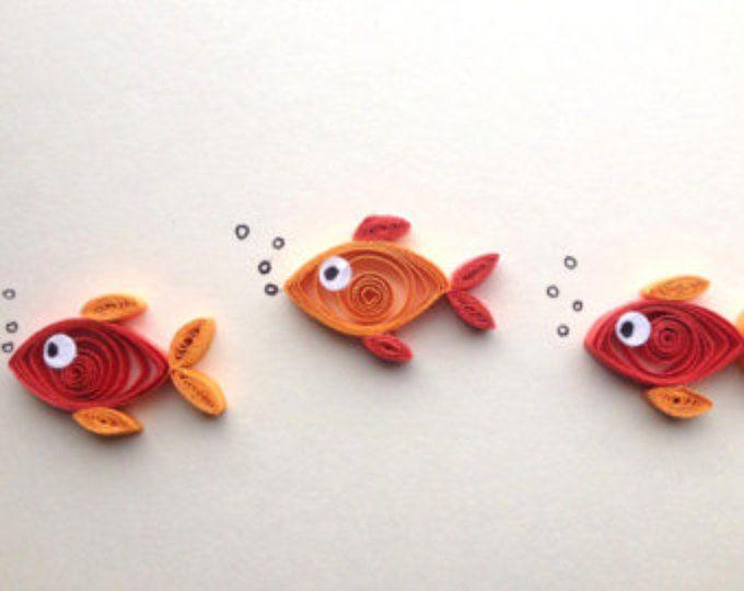 Quilled Card, oranje-rode goudvis, vis op crème, quilled kunst, wenskaart, lege kaart, zee, goudvis