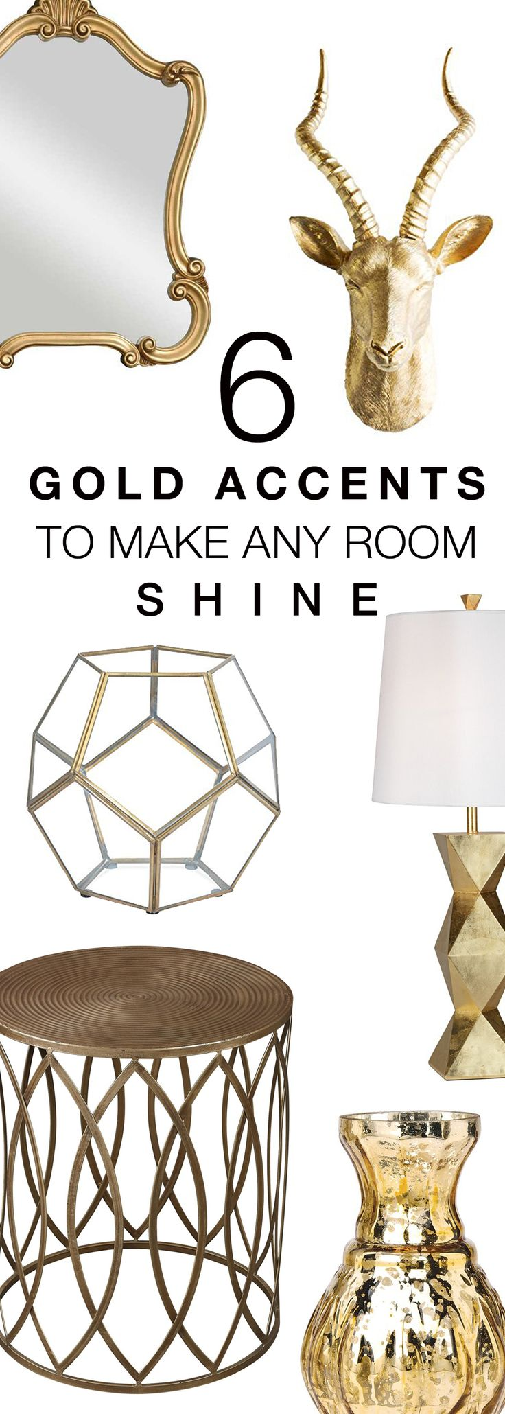 Gold Accents To Make Any Room Shine. Gold Home Decor Accessories,