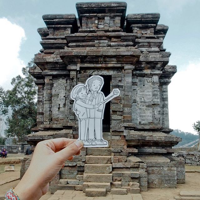 Dieng Plateau is home to a few ancient Hindu temples. It is unclear when they were build, but they are the oldest known standing stone structures in Java. This one is called Gatotkaca Temple.  #instadaily #instatravel #instatravelling #culture #temple #dieng #DiengPlateau #java #indonesia #panoramic #ancient #nature #doodles #couple #instanusantara #handsinframe