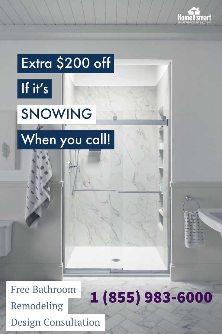 "Nor'easter snow ""SHOWER"" specials! Elegant crushed stone baths and showers by Home Smart. Call now to schedule a free in-home Design Consultation with a Specialist and $500 off. 1-855-983-6000 www.HomeSmartind.com #HomeSmart #HomeSmartind #Bathroom #BathroomRemodeling #Elegant #Showers #StoneShower #StoneBathtub #DesignConsultation #ShowerSpecial"