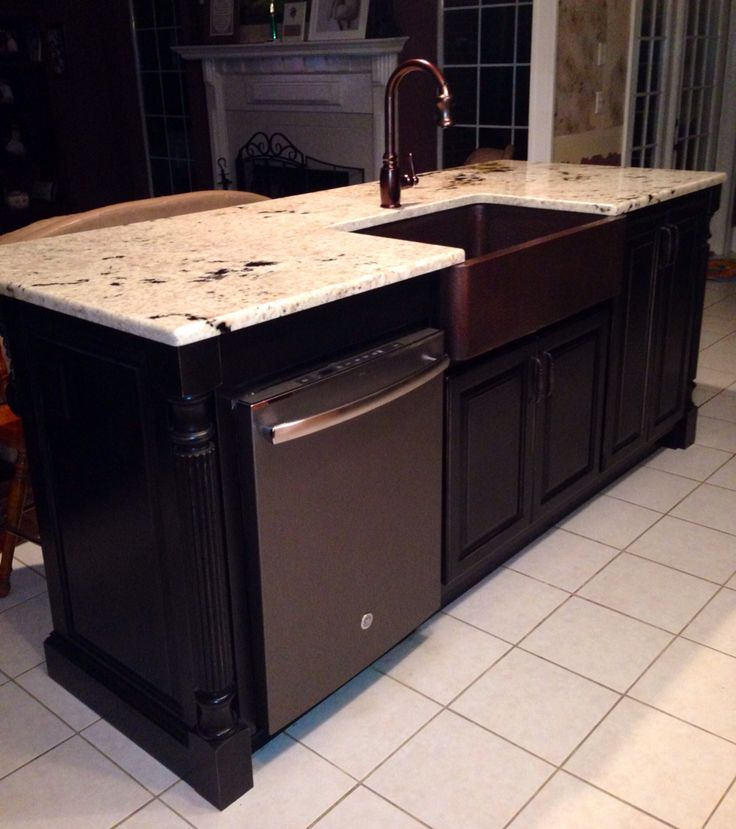 Our new kitchen island with GE slate dishwasher, colonial