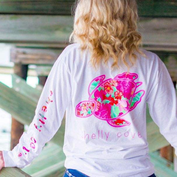FLORAL GEM COLLECTION  Our Shelly Turtle filled with Pretty Preppy Colors. We love the posy filled left arm imprint. - Comfort Colors garment dyed long sleeve White tee - 6 color Pretty Posy design