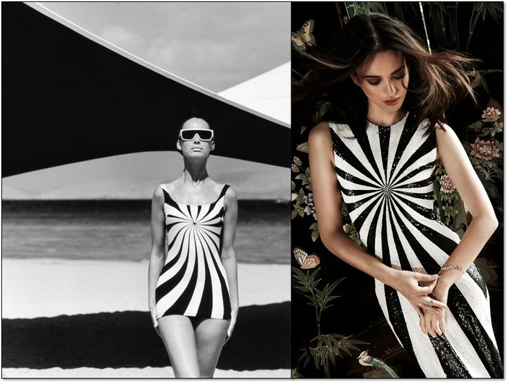 Слева: Купальник. 1966 г. Модель: Брижитт Бауэр (Brigitte Bauer). Фотограф: Франц Кристиан Гундлах (F.C. Gundlach). Справа: Платье от Мэттью Уильямсона (Matthew Williamson). Осень-зима 2014/15 гг. #MatthewWilliamson #opart #fashion #fashioninspiration #style #60s #1960s #SperanzaFirsace