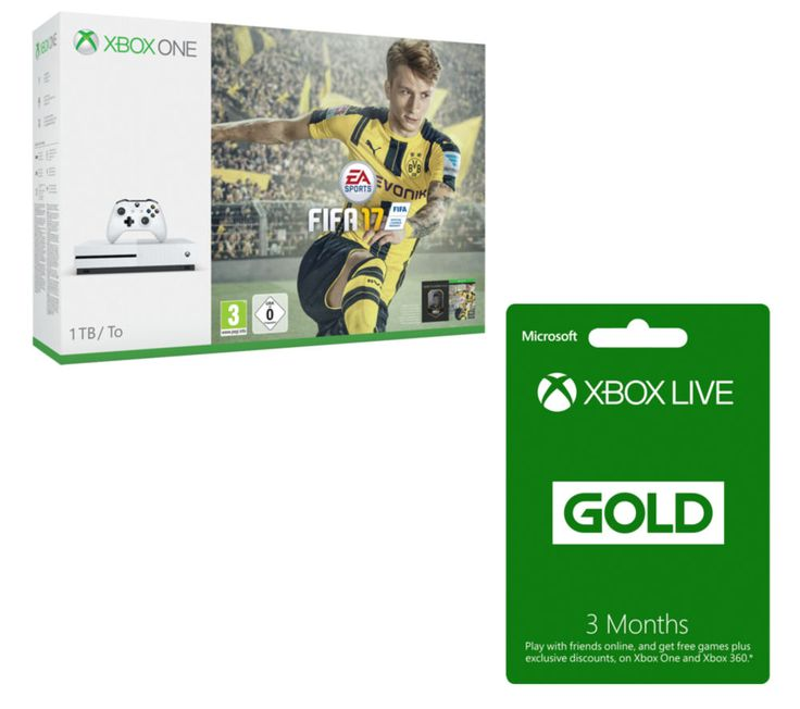 MICROSOFT  Xbox One S with FIFA 17 & 3 Month Xbox LIVE Gold Membership Bundle - 1 TB, Gold Price: £ 293.99 Pick up the latest Xbox console and grace the hallowed turf in FIFA 17 with the Microsoft Xbox One S with FIFA 17 & 3 Month Xbox LIVE Gold Membership Bundle . It includes one month of EA Access, which allows you to play games for a limited time before they're even released, as well as...