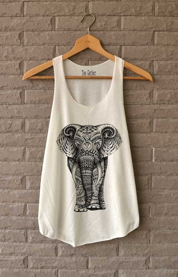 Elephant Aztec Shirts Tank Top Women Size S M L by Teegethershop