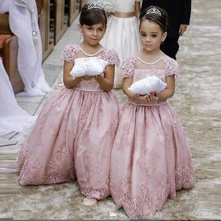 2016 Cheap Flower Girls Dresses For Weddings Lace Beads Jewel Neck Pink Floor Length Bow Party Birthday Dress Children Girl Pageant Gowns Online with $83.77/Piece on Yes_mrs's Store | DHgate.com