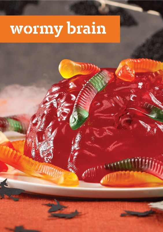 Wormy Brain — You know a dessert is perfect for Halloween when the recipe starts by telling you how to prep your JELL-O Halloween Brain Mold!
