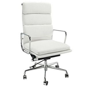 LexMod Discovery High Back Leather Conference Office Chair in White Genuine Leather