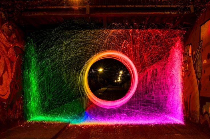 Wheel of fire Nightshot in a tunnel