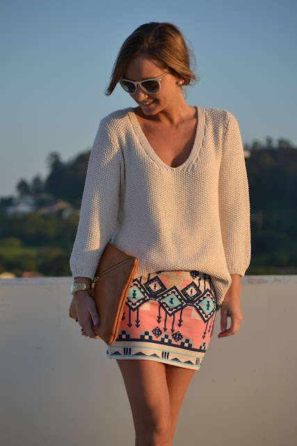 knit sweater + aztec mini.