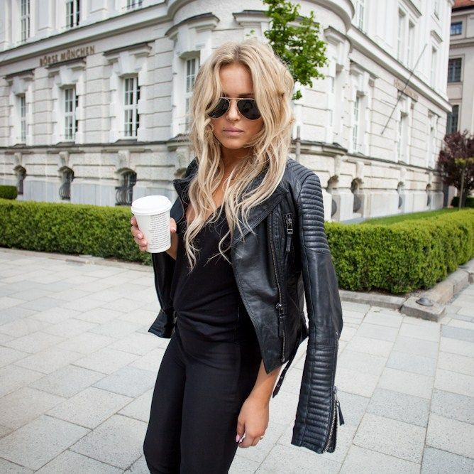 15 Inspirations Of Long Blonde Hair Colors: Blonde With Epic Leather Jacket & Coffee. Aloxxi Hair