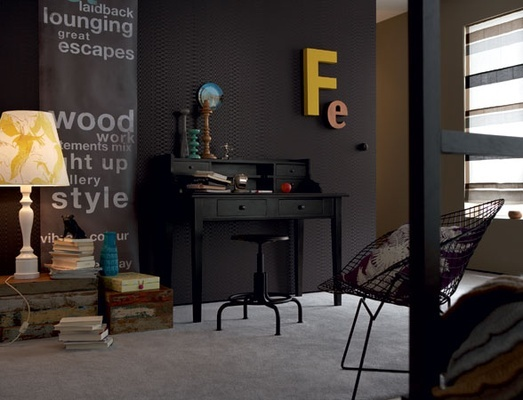 Funky Industrial If you want dark walls with a bit of texture or interest to break the effect either paint over one of the anaglypta wallpapers • Truer charcoals like Resene Gravel, Double Stack and Quarter Fuscous Grey. Flinty and sophisticated, these colours lend a cool urban edginess.