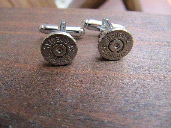 38 speciale kogel Manchetknopen kleine dun door JillsJewels4You