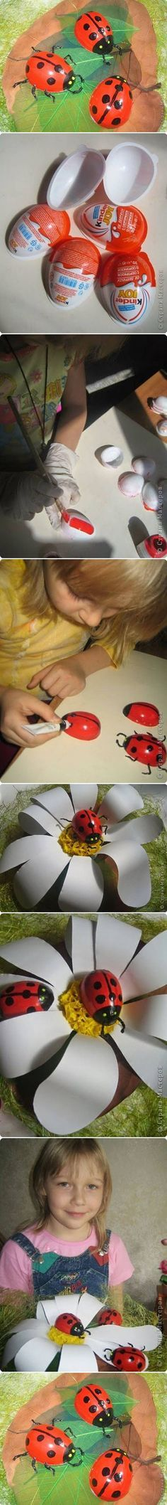 How to Make Painted Ladybug from Easter Egg #craft #Easter #decor