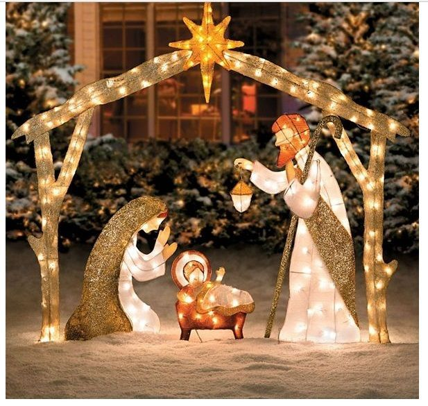 Outdoor Nativity Scene Lighted Large Pre Lit Outside Holy Family Yard Decor Set Decorating With Christmas Lights Christmas Yard Decorations Outside Christmas Decorations