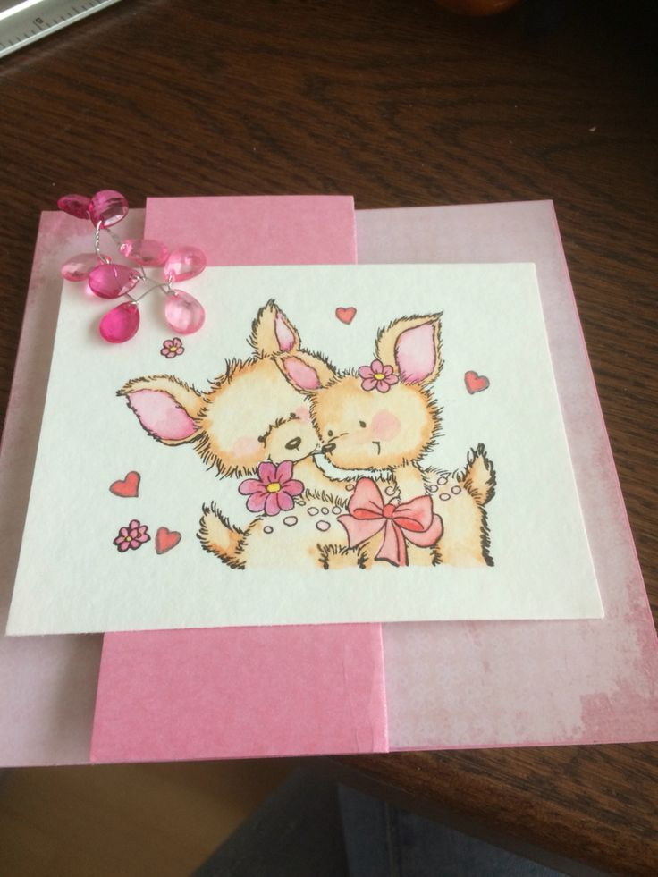 gasai tambi kuretake card pink cute dogs