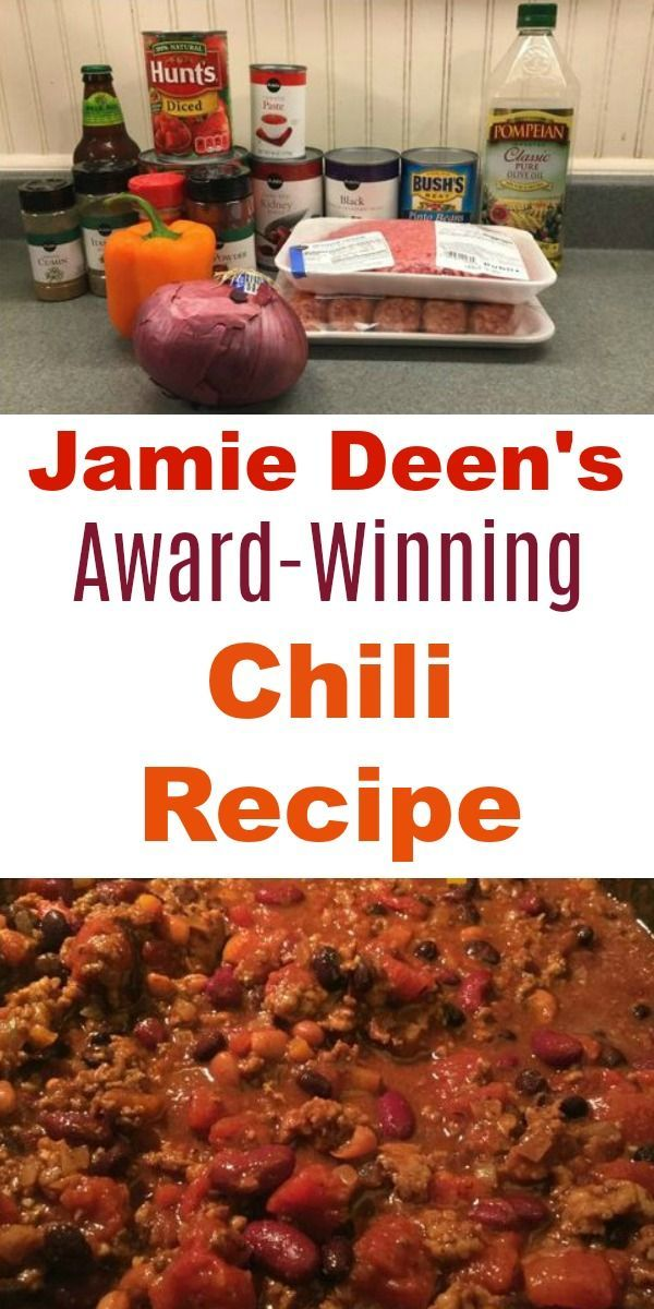 Best Homemade Chili Recipe Ever Paula Deen S Son Jamie Came Up With This Award Winning Recipe To M Beef Chili Recipe Best Chili Recipe Winning Chili Recipes