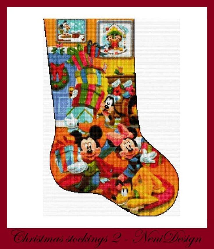 Christmas stockings 2 cross stitch pattern disney