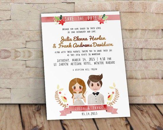 Partecipazioni con ritratto illustrazione degli sposi. Wedding invitations with portrait. #wedding #wedding invitations