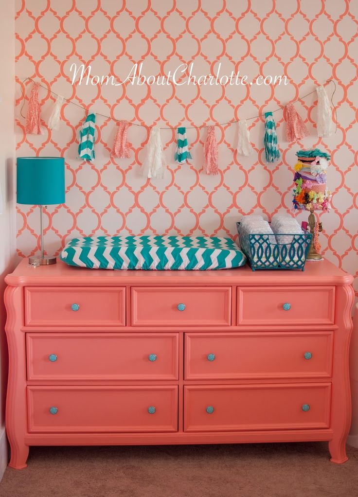 Mom About Charlotte: Gold, Coral & Teal Nursery: Get the Look