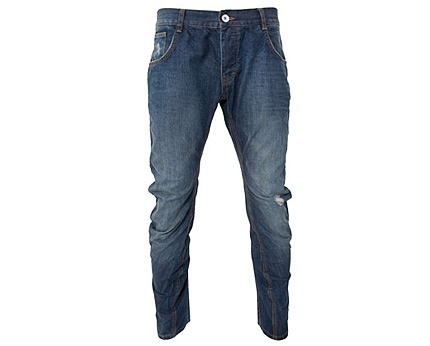 Blue Mid Wash Twisted Jeans