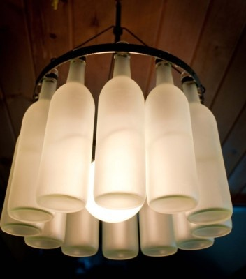 Frosted wine bottle chandelier