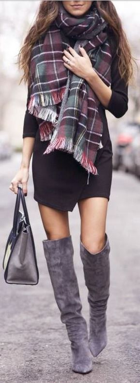 Love this outfit! Heavy scarf _ fitted dress + loose/tall boots!!